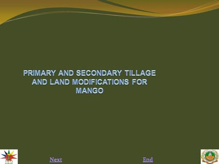 PRIMARY AND SECONDARY TILLAGE AND LAND MODIFICATIONS FOR MANGO Abstract: Tillage (ploughing the soil) is the most important and first operation carried.