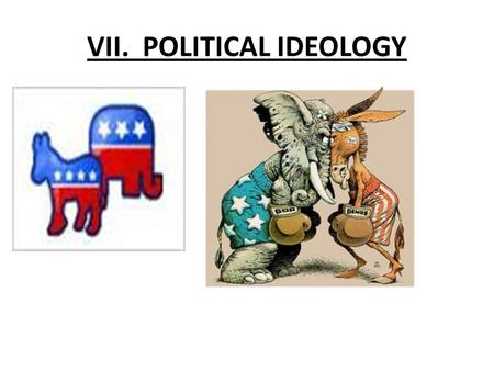 VII. POLITICAL IDEOLOGY. POLITICAL SOCIALIZATION 1. DEFINITION: The process by which individuals learn their political beliefs and attitudes. How we pass.