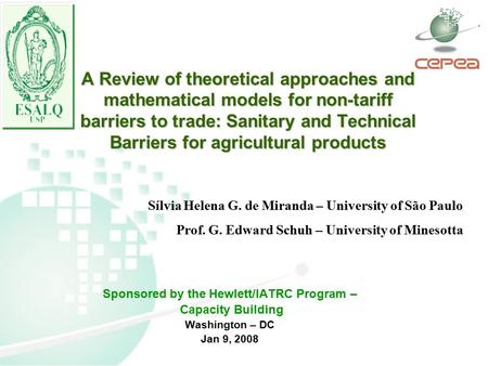 A Review of theoretical approaches and mathematical models for non-tariff barriers to trade: Sanitary and Technical Barriers for agricultural products.