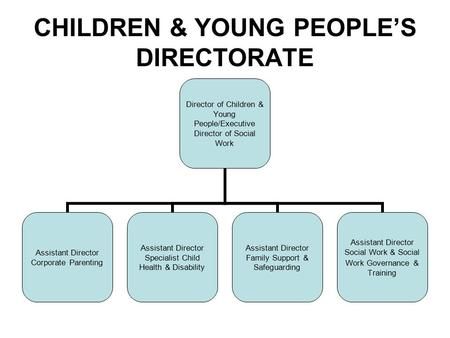 CHILDREN & YOUNG PEOPLE'S DIRECTORATE Director of Children & Young People/Executive Director of Social Work Assistant Director Corporate Parenting Assistant.