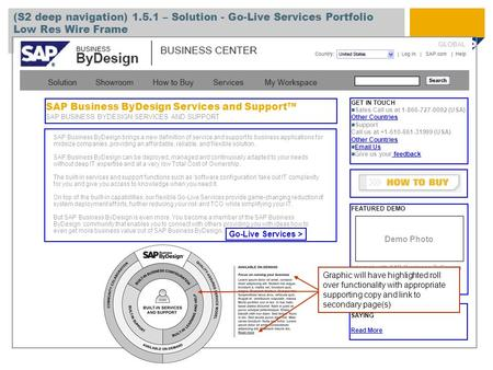 SAP Business ByDesign Services and Support™ SAP BUSINESS BYDESIGN SERVICES AND SUPPORT (S2 deep navigation) 1.5.1 – Solution - Go-Live Services Portfolio.