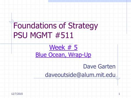 12/7/20151 Foundations of Strategy PSU MGMT #511 Dave Garten Week # 5 Blue Ocean, Wrap-Up.