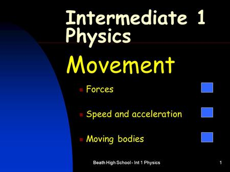 Beath High School - Int 1 Physics1 Intermediate 1 Physics Movement Forces Speed and acceleration Moving bodies.