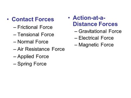 Contact Forces –Frictional Force –Tensional Force –Normal Force –Air Resistance Force –Applied Force –Spring Force Action-at-a- Distance Forces –Gravitational.