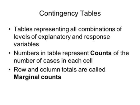 Contingency Tables Tables representing all combinations of levels of explanatory and response variables Numbers in table represent Counts of the number.