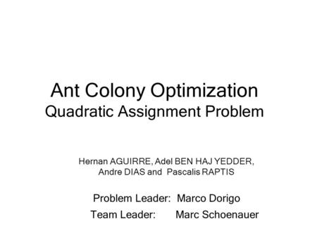 Ant Colony Optimization Quadratic Assignment Problem Hernan AGUIRRE, Adel BEN HAJ YEDDER, Andre DIAS and Pascalis RAPTIS Problem Leader: Marco Dorigo Team.