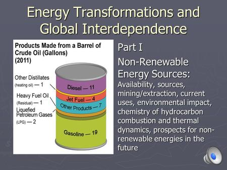 Energy Transformations and Global Interdependence Part I Non-Renewable Energy Sources: Availability, sources, mining/extraction, current uses, environmental.