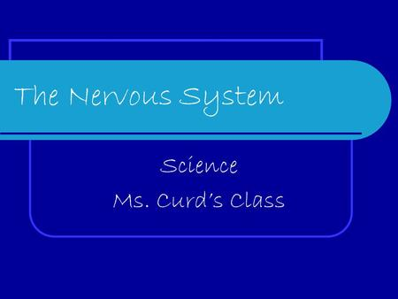 The Nervous System Science Ms. Curd's Class. The Five Senses 1. Sight 2. Hearing 3. Touch 4. Smell 5. Taste.