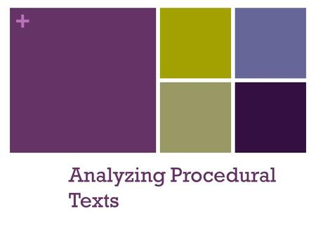 + Analyzing Procedural Texts. + PROCEDURAL TEXT Have you ever rushed through a set of instructions or not read them carefully? Let's watch this video.
