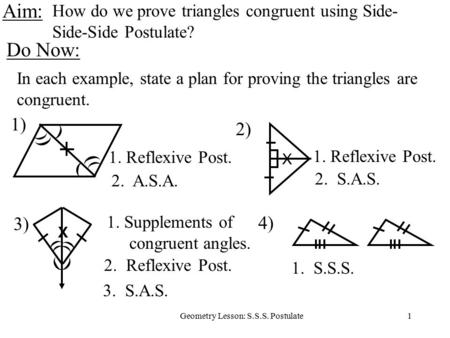 How do we prove triangles congruent using Side-Side-Side Postulate?