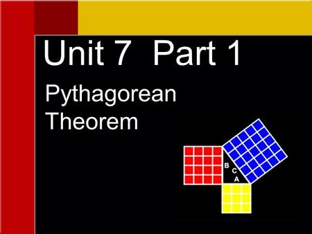 Pythagorean Theorem Unit 7 Part 1. The Pythagorean Theorem The sum of the squares of the legs of a right triangle is equal to the square of the hypotenuse.
