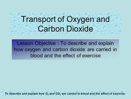To describe and explain how O 2 and CO 2 are carried in blood and the effect of exercise Transport of Oxygen and Carbon Dioxide Lesson Objective : To describe.