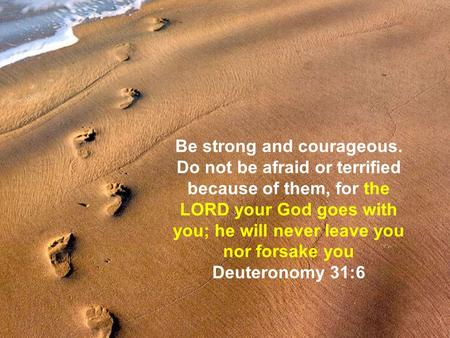 Be strong and courageous. Do not be afraid or terrified because of them, for the LORD your God goes with you; he will never leave you nor forsake you Deuteronomy.