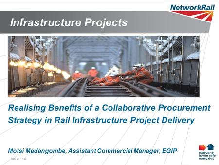 Infrastructure Projects Date 21.11.121 Realising Benefits of a Collaborative Procurement Strategy in Rail Infrastructure Project Delivery Motsi Madangombe,