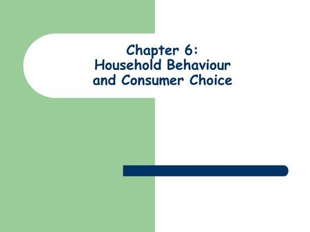 Chapter 6: Household Behaviour and Consumer Choice.
