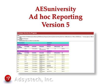 AESuniversity Ad hoc Reporting Version 5. for the special purpose or end presently under consideration concerned or dealing with a specific subject, purpose,