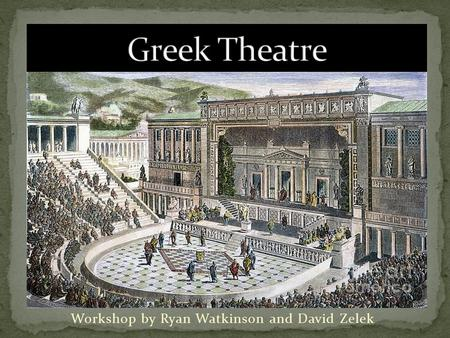 Workshop by Ryan Watkinson and David Zelek. Festivals of Dionysus: it may refer to several celebrations held in Athens in honor of the Greek god Dionysus: