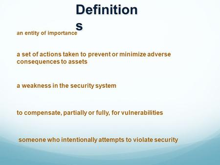 Definition s a set of actions taken to prevent or minimize adverse consequences to assets an entity of importance a weakness in the security system to.