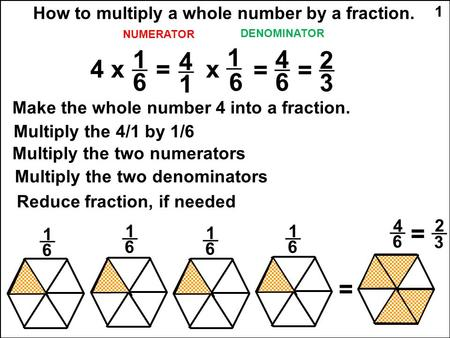 NUMERATOR DENOMINATOR How to multiply a whole number by a fraction. 1 Make the whole number 4 into a fraction. 1 6 4 x = 4 1 Multiply the 4/1 by 1/6 x.