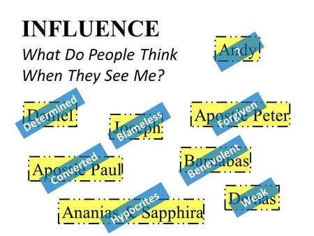 INFLUENCE What Do People Think When They See Me? Daniel Apostle Paul Joseph Barnabas Ananias & Sapphira Demas Apostle Peter Determined Blameless Converted.