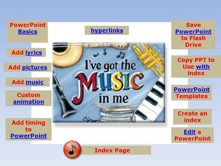 PowerPoint Basics Basics Add lyrics Add picturespictures hyperlinks Create an index Custom animation animation Add musicmusic PowerPoint PowerPoint Templates.