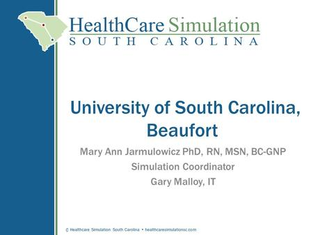 © Healthcare Simulation South Carolina healthcaresimulationsc.com University of South Carolina, Beaufort Mary Ann Jarmulowicz PhD, RN, MSN, BC-GNP Simulation.