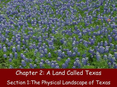 Chapter 2: A Land Called Texas Section 1:The Physical Landscape of Texas.