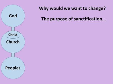 Why would we want to change? The purpose of sanctification…