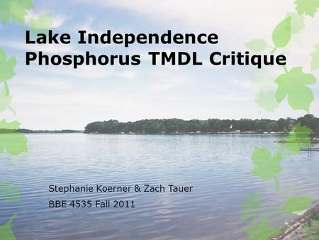 Lake Independence Phosphorus TMDL Critique Stephanie Koerner & Zach Tauer BBE 4535 Fall 2011.