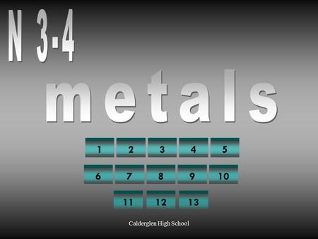 Calderglen High School 12345 678910 111213 Calderglen High School 1 Are metals finite or infinite resources? answer finite.