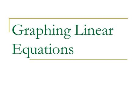 Graphing Linear Equations. Standard Form Equation where x and y are on the same side of the equal sign. Example: