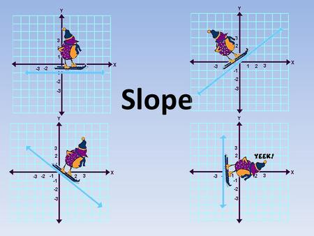 Slope. Ski Bird is going to try to help you remember how slope applies to straight lines. change in y over change in x. Slope is defined as… rise run.