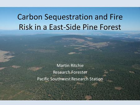 Carbon Sequestration and Fire Risk in a East-Side Pine Forest Martin Ritchie Research Forester Pacific Southwest Research Station.