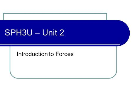 "SPH3U – Unit 2 Introduction to Forces. Force What do you think of when you hear the word, ""Force""? Think of 3 sentences that use the word, ""Force""."