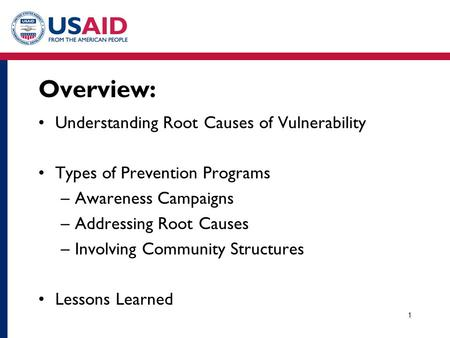 Overview: Understanding Root Causes of Vulnerability Types of Prevention Programs –Awareness Campaigns –Addressing Root Causes –Involving Community Structures.