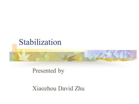 Stabilization Presented by Xiaozhou David Zhu. Contents What-is Motivation 3 Definitions An Example Refinements Reference.