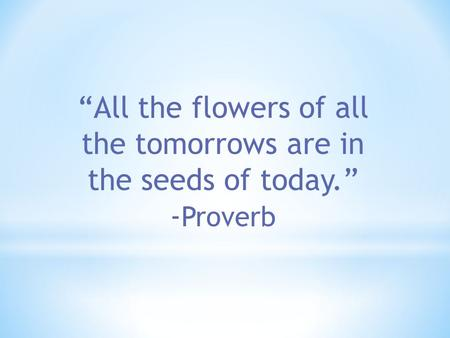 """All the flowers of all the tomorrows are in the seeds of today."" - Proverb."