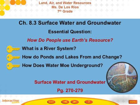 Ch. 8.3 Surface Water and Groundwater