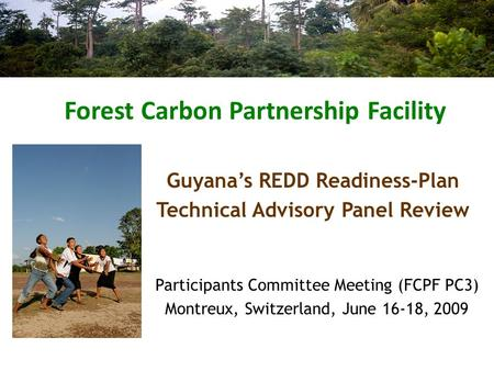Forest Carbon Partnership Facility Participants Committee Meeting (FCPF PC3) Montreux, Switzerland, June 16-18, 2009 Guyana's REDD Readiness-Plan Technical.