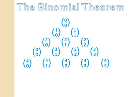 Pascal's Triangle and the Binomial Theorem (x + y) 0 = 1 (x + y) 1 = 1x + 1y (x + y) 2 = 1x 2 + 2xy + 1y 2 (x + y) 3 = 1x 3 + 3x 2 y + 3xy 2 +1 y 3 (x.