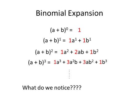 (a + b) 0 =1 (a + b) 1 = (a + b) 2 = (a + b) 3 = 1a 1 + 1b 1 1a 2 + 2ab + 1b 2 1a 3 + 3a 2 b + 3ab 2 + 1b 3 Binomial Expansion... What do we notice????
