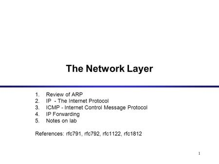 1 The Network Layer 1.Review of ARP 2.IP - The Internet Protocol 3.ICMP - Internet Control Message Protocol 4.IP Forwarding 5.Notes on lab References: