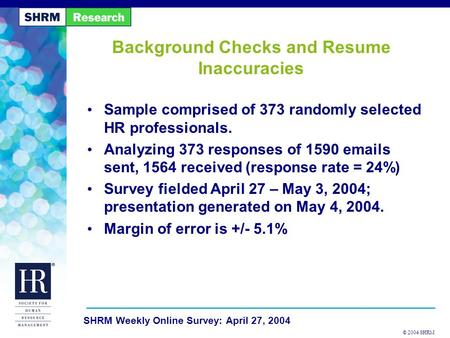 © 2004 SHRM SHRM Weekly Online Survey: April 27, 2004 Background Checks and Resume Inaccuracies Sample comprised of 373 randomly selected HR professionals.