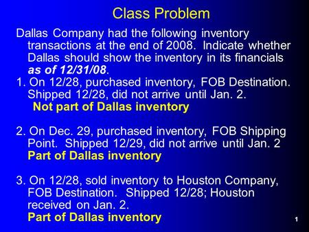 1 Class Problem Dallas Company had the following inventory transactions at the end of 2008. Indicate whether Dallas should show the inventory in its financials.