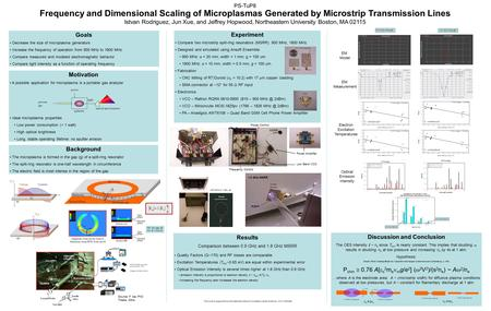PS-TuP8 Frequency and Dimensional Scaling of Microplasmas Generated by Microstrip Transmission Lines Istvan Rodriguez, Jun Xue, and Jeffrey Hopwood, Northeastern.