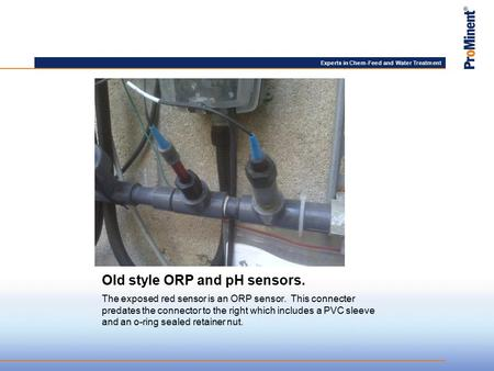 Experts in Chem-Feed and Water Treatment Old style ORP and pH sensors. The exposed red sensor is an ORP sensor. This connecter predates the connector to.
