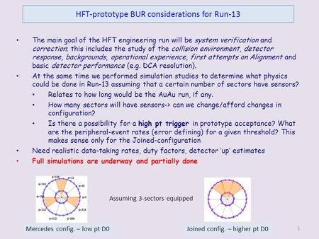 HFT-prototype BUR considerations for Run-13 The main goal of the HFT engineering run will be system verification and correction; this includes the study.