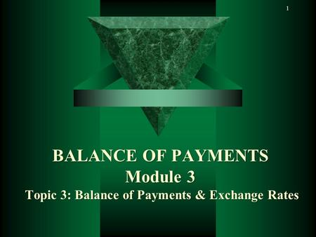1BALANCE OF PAYMENTS Module 3 Topic 3: Balance of Payments & Exchange Rates.