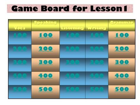 100 200 300 400 500 Game Board for Lesson1 DOL Unscramble the Word100.