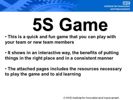 This is a quick and fun game that you can play with your team or new team members It shows in an interactive way, the benefits of putting things in the.